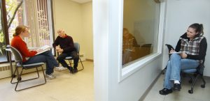 Washington State University's College of Veterinary Medicine Clinical Communication Program offers two required courses on the importance of interaction with pet owners. The center has an exam room with a one-way glass, observation area for the students to confer with pet owners while being monitored by a staff member. Photo by Henry Moore Jr. BCU/WSU