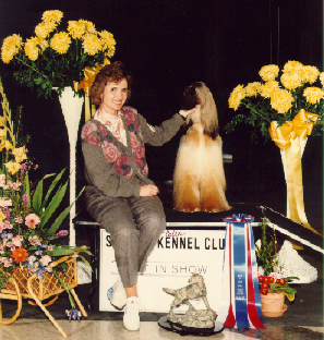 SKC 1988 Best in Show Winner<br>Afghan Hound<br>Ch. Stormhill's Who's Zoomin' Who<br>with Breeder/Owner/Handler, Sandy Frei